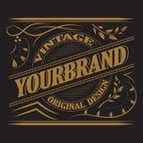 Antiek etiket, uitstekend kaderontwerp, retro embleem Stock Foto