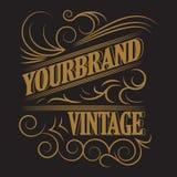 Antiek etiket, uitstekend kaderontwerp, retro embleem Stock Fotografie