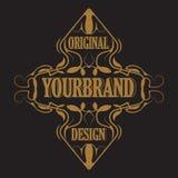 Antiek etiket, uitstekend kaderontwerp, typografie, retro embleemmalplaatje, stock illustratie