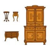Antiek geplaatst die meubilair - kast, nightstand en dienst op wit wordt geïsoleerd vector illustratie