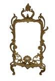 Antiek gouden die kader op witte achtergrond met het knippen van weg wordt geïsoleerd Europees art. Royalty-vrije Stock Foto