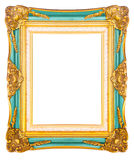Antiek gouden die kader op witte achtergrond wordt geïsoleerd stock fotografie