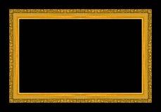 Antiek gouden die kader op zwarte achtergrond wordt geïsoleerd Stock Afbeeldingen