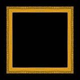 Antiek gouden die kader op zwarte achtergrond wordt geïsoleerd Royalty-vrije Stock Fotografie