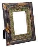 Antiek houten die fotokader op witte achtergrond wordt geïsoleerd Royalty-vrije Stock Fotografie
