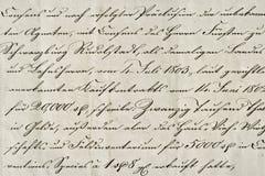 Antiek kalligrafisch handschrift Oud inktmanuscript Document rug royalty-vrije stock foto