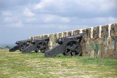 Antiek kanon op de borstweringen van Azov Stock Fotografie