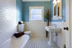 Antiek luxeontwerp van blauwe badkamers Stock Foto's