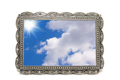 Antiek metaalbeeld en fotoframe Stock Afbeelding