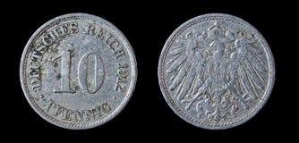 Antiek muntstuk van pfennig 10. 1912. Stock Afbeeldingen