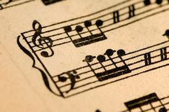 Antiek muziekblad Stock Foto's