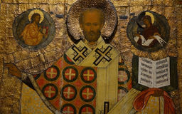 Antiek Russisch orthodox pictogram stock foto's