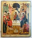 Antiek Russisch orthodox pictogram de Oud Testamentdrievuldigheid Royalty-vrije Stock Foto