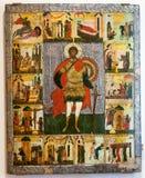 Antiek Russisch orthodox pictogram van St Theodorus II Stratelates-wi Royalty-vrije Stock Foto's
