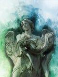 Antiek standbeeld van engel in waterverfstijl stock fotografie