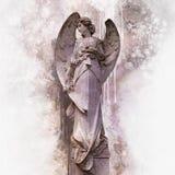 Antiek standbeeld van engel in waterverfstijl royalty-vrije illustratie