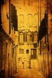 Antiek stijlbeeld van een steeg in Venetië vector illustratie