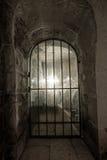 Antiek venster met een rooster stock fotografie