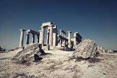 Antieke Aphaia-tempel in Aegina-Eiland, Griekenland Royalty-vrije Stock Foto's