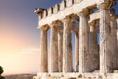 Antieke Aphaia-tempel op Aegina-Eiland, Griekenland Stock Foto's
