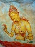 Antieke Aziatische fresko met naakte vrouw Stock Foto's