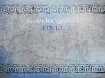 Antieke blauwe muur in grungestijl met meander Vector illustratie Royalty-vrije Illustratie