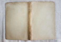 Antieke boekdekking, open, hoogste mening Stock Foto's
