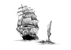 Antieke boot overzeese beweging veroorzakende met de hand gemaakte tekening Stock Foto's