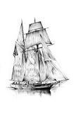 Antieke boot overzeese beweging veroorzakende met de hand gemaakte tekening Royalty-vrije Stock Foto