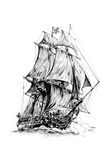 Antieke boot overzeese beweging veroorzakende met de hand gemaakte tekening Royalty-vrije Stock Foto's