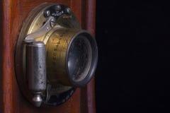 Antieke Camerahout en Lensclose-up royalty-vrije stock fotografie