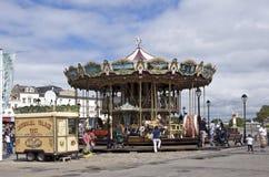 Antieke carrousel in Honfleur stock afbeeldingen