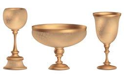 Antieke 3D Uitstekende Hoge de vloervaas van de bronsvaas met het gouden ornamenten 3d teruggeven Royalty-vrije Stock Afbeelding