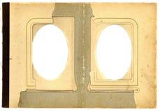 Antieke de paginaachtergrond van het fotoalbum met twee geïsoleerd ovaal gat Royalty-vrije Stock Fotografie