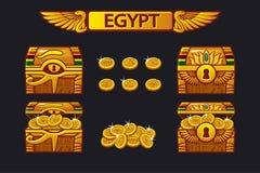 Antieke de schatborst van Egypte en gouden muntstukken stock illustratie