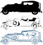Antieke die Oldsmobile-Auto op Witte Vector wordt geïsoleerd stock illustratie