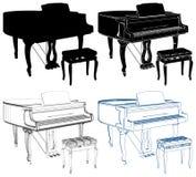 Antieke die Piano op Witte Vector wordt geïsoleerd Als achtergrond royalty-vrije illustratie