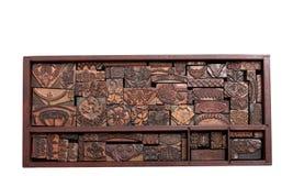 Antieke Drukblokken Stock Afbeeldingen