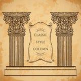 Antieke en barokke klassieke van het stijlkolom en lint banner vectorreeks De uitstekende architecturale elementen van het detail Stock Afbeeldingen