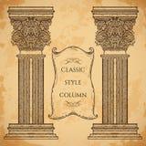 Antieke en barokke klassieke van het stijlkolom en lint banner vectorreeks De uitstekende architecturale elementen van het detail Royalty-vrije Stock Foto's
