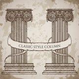 Antieke en barokke klassieke van het stijlkolom en lint banner vectorreeks De uitstekende architecturale elementen van het detail Stock Foto's
