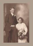 Antieke foto van een huwelijkspaar Stock Foto