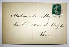 Antieke Franse prentbriefkaar met zegel van Parijs royalty-vrije stock foto