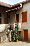Antieke Franse steenhuis & rozen royalty-vrije stock foto's