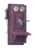 Antieke geïsoleerde muurtelefoon Stock Afbeelding