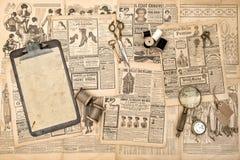 Antieke Gebruikte het document van de toebehoren uitstekende manier tijdschrift backgrou stock fotografie