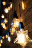 Antieke gloeidraad gloeilampen, de gloeilampen van Edison Royalty-vrije Stock Foto