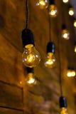 Antieke gloeidraad gloeilampen, de gloeilampen van Edison Stock Foto's