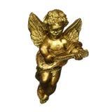 Antieke gouden engel die muziek maakt stock fotografie