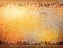 Antieke gouden muur in grungestijl met meander Vector illustratie Stock Illustratie